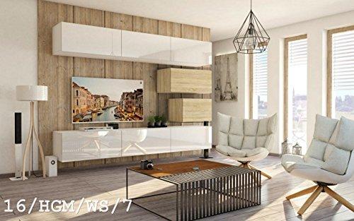 Wohnwand FUTURE 16 Anbauwand Schrankwand Moderne Wohnwand Exklusive Mediamöbel Möbelset Wohnzimmer Matt / Hochglanz (16/HGM/WS/7, Möbel)