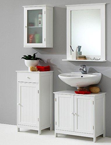 4tlg Landhaus Badezimmer Set Badmbel Lack wei Waschplatz Badezimmerschrank