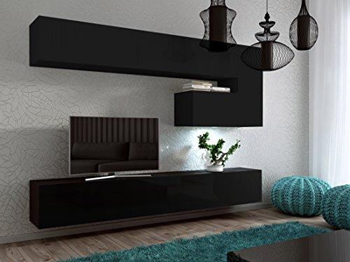 Wohnwand FUTURE 15 Anbauwand Hochglanz Matt (Schwarz Matt, LED Weiß)
