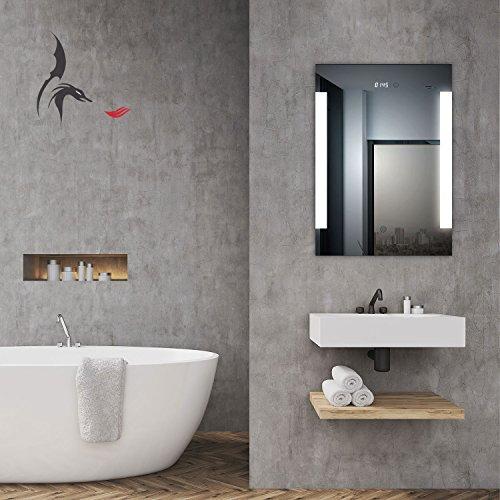 TOP AKTION WEIHNACHTEN! Badspiegel LED beleuchtet mit integrierter Digital Uhr, Augsburg 50x70cm, Badezimmerspiegel seitlich beleuchtet, Energieklasse A+