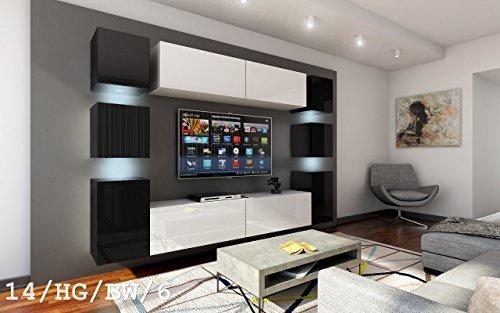 Wohnwand FUTURE 14 Moderne Wohnwand, Exklusive Mediamöbel, TV-Schrank, Neue Garnitur, Große Farbauswahl (RGB LED-Beleuchtung Verfügbar) (LED Weiss, 14_HG_BW_6)