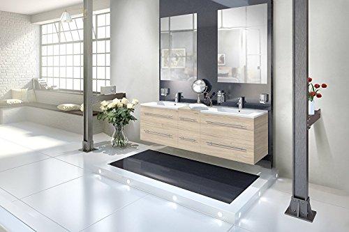 SAM® Badmöbel-Set 3-tlg, Sonoma-Eiche, Softclose Badezimmermöbel, Doppelwaschplatz 150 cm Mineralgussbecken, zwei Spiegel