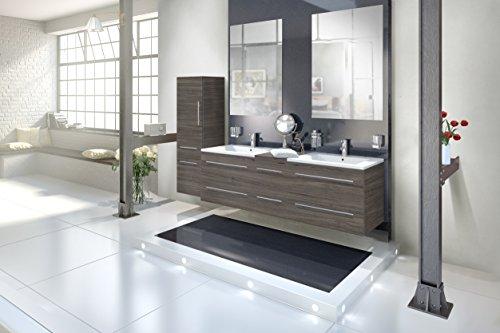 SAM® Badmöbel-Set 4-tlg, Barcelona, Trüffeleiche, Softclose Badezimmermöbel, Doppelwaschplatz 150 cm Mineralgussbecken, zwei Spiegel, Hochschrank