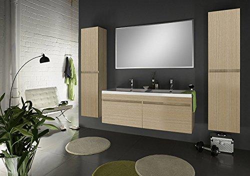 SAM® Badmöbel Set 4tlg Komplettset in matter Sonomaeiche, 140 cm breiter Doppel-Waschplatz, Badezimmermöbel bestehend aus 1 x Spiegel, 1 x Doppel-Waschplatz und 2 x Hochschrank [520117]