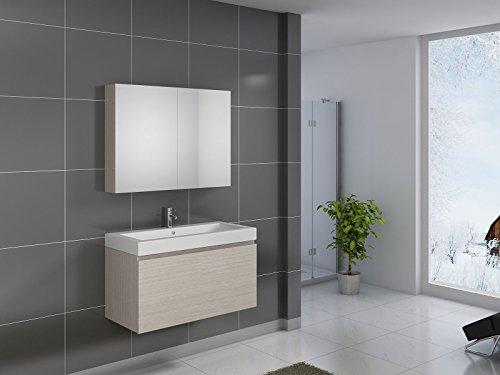 SAM® Badmöbel-Set Parma, 100 cm, Designer-Badset mit Softclose-Funktion, wahlweise als 2-, 3-, 4- oder 5-teiliges Badmöbelset in 5 verschiedenen Farben mit Spiegelschrank