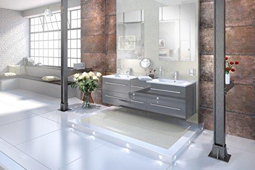 SAM® Design Badmöbel-Set Barcelona 3tlg, Hochglanz grau, 150 cm Breite, Schubladen mit Softclosefunktion, Badezimmer-Set bestehend aus 2 x Spiegel, 1 x Doppelwaschplatz