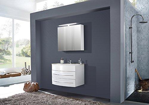 SAM® Design Montagsbad 2tlg. Badmöbel-Set Dublin 80 cm weiß, Softclose-Funktion, 1 Waschplatz mit Keramikbecken und 1 Spiegelschrank