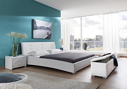 SAM® Design Polsterbett Bastia, 160 x 200 cm in weiß, Kopfteil im modernen abgesteppten Design, Bett mit Chromfüßen, auch als Wasserbett verwendbar