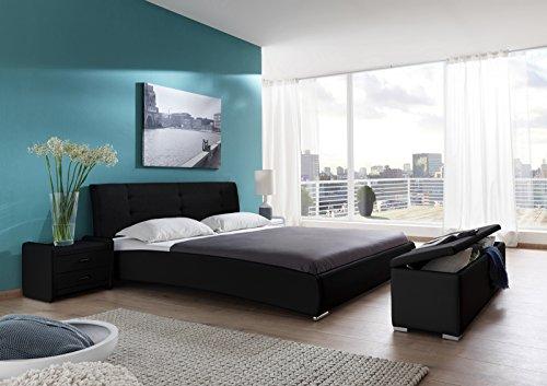 SAM® Polsterbett 90x200 cm Bastia, schwarz, pflegeleichtes Design-Bett mit Kunstlederbezug & Stoff, abgestepptes Kopfteil, Einzelbett