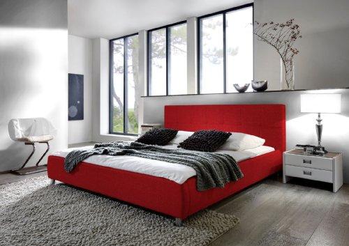 SAM® Polsterbett Bett Zarah in Rot 180 x 200 cm Chrom farbene Füße modernes Design Farbton Kopfteil abgesteppt Wasserbett geeignet