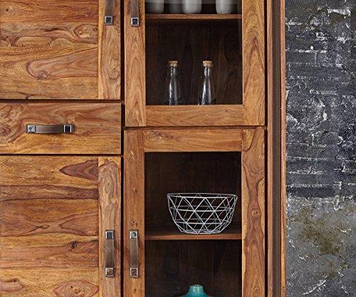 Glasvitrine Shan Sheesham Shina 118 cm 4 Türen 1 Schublade Massivholz Vitrine
