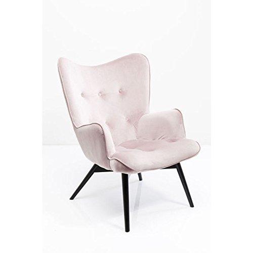 KARE Design Sessel Vicky 82610 mit Armlehnen, Ohrensessel mit Samt Bezug, Polstersessel in Rosa, pflegeleichte Oberfläche, Füße aus massiver Buche lackiert, 59x63x92cm