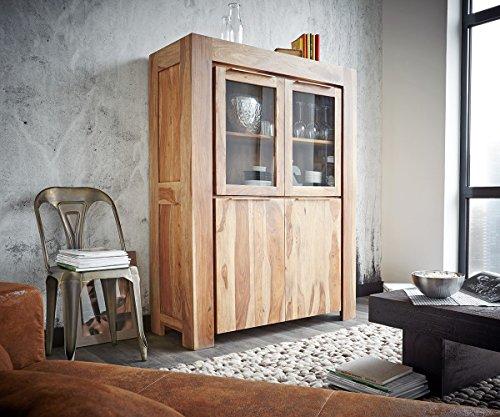 Glasvitrine Colombe Sheesham Natur 120 cm 2 Holztüren 2 Glastüren Vitrine Holz