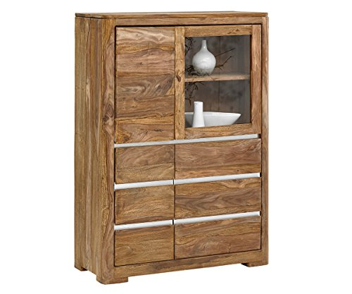 Hochschrank Boston Sheesham Natur 100 cm 1 Glastür 3 Holztüren massiv Highboard