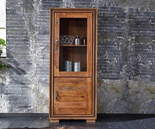 Glasvitrine Shan Sheesham Shina 75 cm mit 1 Glastür 1 Holztür Massivholz Vitrine