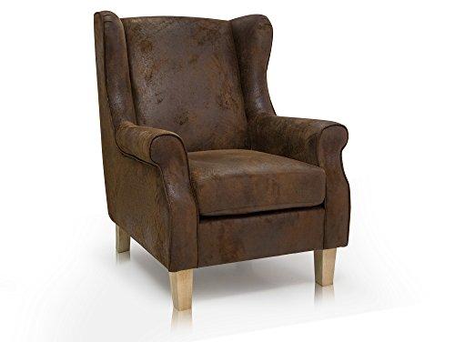 WILMA Ohrensessel Sessel Polstersessel Wohnzimmersessel Rlaxsessel Eichefarbig/Vintage Microfiber