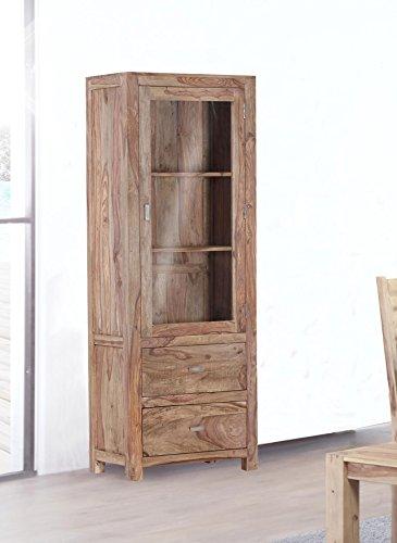 Vitrine in Sheesham massiv, natur gebeizt und lackiert, 1 Glastür mit 2 Konstruktionsböden, 2 Schubladen, Maße: B/H/T ca. 67/180/40 cm