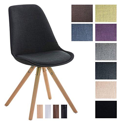 CLP Design Stuhl PEGLEG mit Stoff-Bezug, Retro Design, Esszimmer-Stuhl gepolstert, Sitzhöhe 46 cm Dunkelgrau, Holzgestell natura