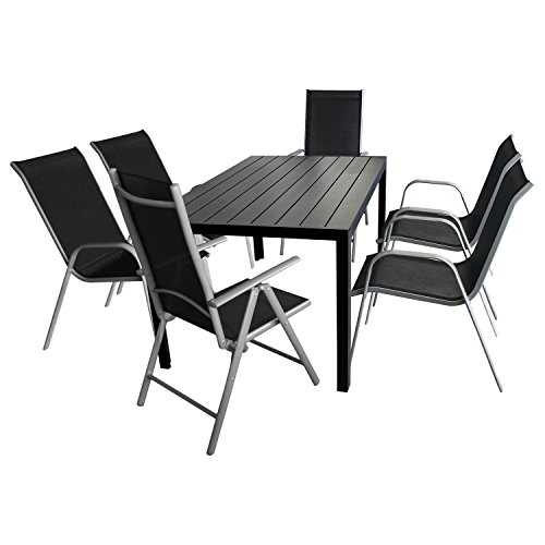 Gartenmöbel Set 7-teilig Gartentisch, Polywood-Tischplatte, 150x90cm + 4x Gartenstuhl, stapelbar, Textilenbespannung + 2x Hochlehner, klappbar, 7-fach verstellbar