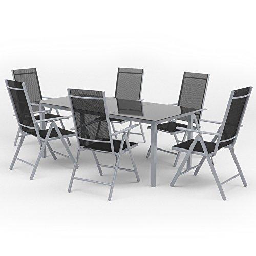 Alu Sitzgarnitur Gartenmöbel Set 7-teilig Garnitur Sitzgruppe 1 Tisch 190x87 + 6 Stühle