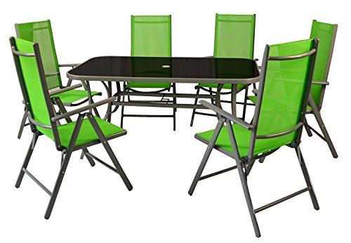 7-teiliges Gartenmöbel-Set – Gartengarnitur Sitzgruppe Sitzgarnitur aus Gartenstühlen & Esstisch – Aluminium Kunststoff Glas – grün