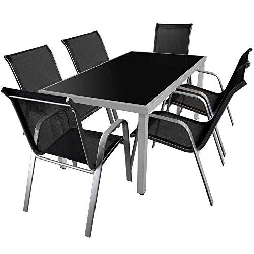7-teiliges Gartenmöbel Set Gartengarnitur Aluminium Glastisch 150x90cm + Gartenstühle Stapelstühle Stahlgestell pulverbeschichtet mit Textilenbespannung Sitzgruppe Sitzgarnitur