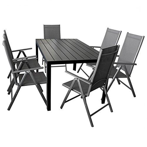 7-teilige Gartengarnitur Gartenmöbel Terrassenmöbel Set Sitzgruppe Aluminium Gartentisch Polywood 150x90cm + 6x Hochlehner 2x2 Textilen