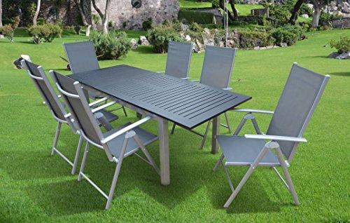 """7-teilige Luxus Aluminium Textilen Gartenmöbelgruppe """"Doppler Mandalika Garden #y"""" in anthrazit silber taupe, Klappsessel und Ausziehtisch"""