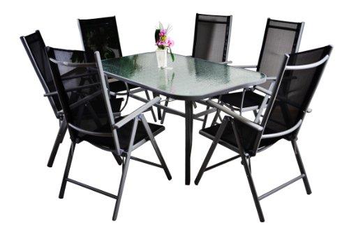 7-teiliges Gartenmöbel-Set – Gartengarnitur Sitzgruppe Sitzgarnitur aus Gartenstühlen & Esstisch (Glasplatte: klar mit Struktur) – Aluminium Kunststoff Glas – schwarz grau