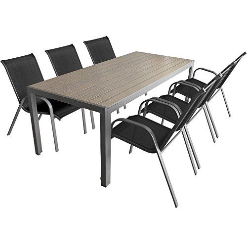 7-teiliges Gartenmöbel Set Aluminium Polywood Gartentisch 205x90cm + stapelbare pulverbeschichtete Gartenstühle Stapelstühle mit Textilenbespannung Sitzgruppe Sitzgarnitur Gartengarnitur