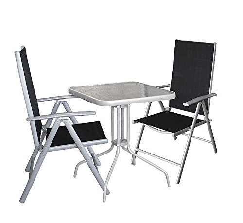 3tlg. Gartengarnitur Balkonmöbel Gartenmöbel Set Bistrotisch 60x60cm mit Tischglasplatte Glastisch Hochlehner Klappstuhl Rückenlehne 7-fach verstellbar Sitzgruppe