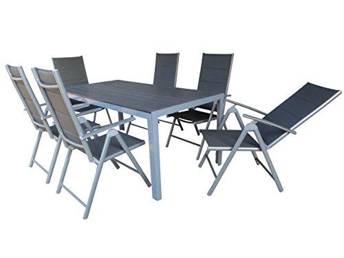 "7-teilige absolut wetterfeste Gartenmöbelgruppe ""Heat XL silber"", Aluminium Textilen Klappsessel und XL Polywood Gartentisch, aus dem Hause Mandalika Garden"