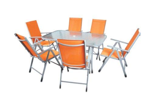 7-teiliges Gartenmöbel-Set – Gartengarnitur Sitzgruppe Sitzgarnitur aus Gartenstühlen & Esstisch (Glasplatte: klar) – Aluminium Kunststoff Glas – orange