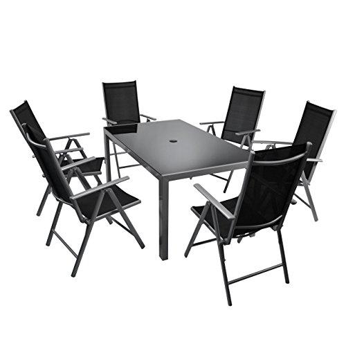7-teiliges Gartenmöbel-Set – Gartengarnitur Sitzgruppe Sitzgarnitur aus Gartenstühlen & Esstisch (Glasplatte schwarz) – Aluminium Kunststoff Glas – schwarz grau