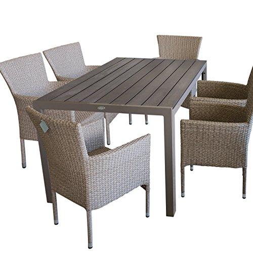 7tlg. Terrassenmöbel Gartenmöbel Set Gartengarnitur Sitzgruppe Sitzgarnitur - Gartentisch, Polywood-Tischplatte, 150x90cm, champagner + 6x Gartensessel, Poly-Rattangeflecht, naturfarben