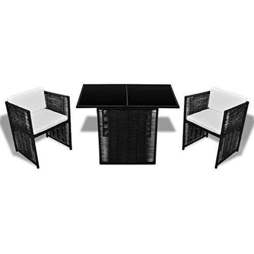 Festnight 7-teiliges Gartenmöbel-Set Garten Essgruppe aus Polyrattan Sitzgruppe mit 1 Gartentisch mit Glasplatte + 2 Stühle + 4 Kissen - Schwarz