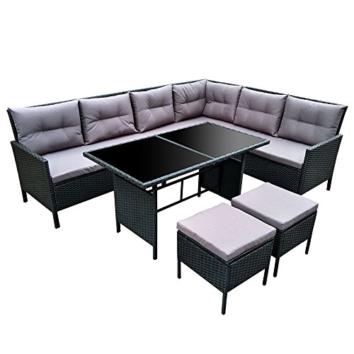 POLY RATTAN Set Gartenmöbel Rattan-Lounge Gartenset Sofa Garnitur Couch-Eck (XXL, Schwarz)