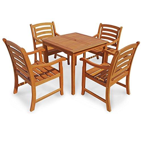 "Indoba Gartenmöbel Set, 5-teilig ""Montana"" - Gartenset - Serie Montana, braun, 80 x 80 x 74 cm, IND-70286-MOSE5Q"