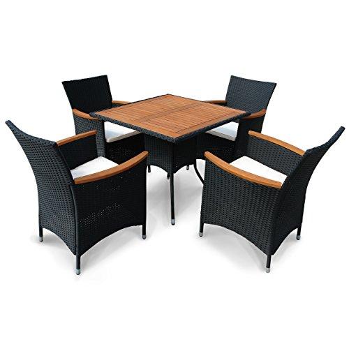 "Indoba Gartenmöbel Set, 5-teilig ""Valencia"" - Polyrattan - Serie Valencia, schwarz, 85 x 85 x 74 cm, IND-70085-VASE5"
