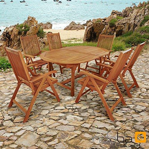 """Indoba Gartenmöbel Set, 7-teilig """"Bali"""" - Gartenset - Serie Bali, braun, 220 x 100 x 74 cm, IND-70048-BASE7"""
