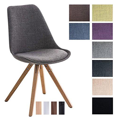 CLP Design Retro-Stuhl PEGLEG SQUARE mit Stoffbezug | Gepolsterter Schalenstuhl mit Holzbeinen und einer Sitzhöhe von: 46 cm | In verschiedenen Farben erhältlich Hellgrau, Holzgestell Farbe natura, Bein-Form eckig