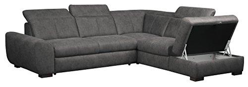 Cavadore 5129 Polsterecke Bules, 3-Sitzer mit Bettfunktion echt bezogen links, Spitzecke, Abschlusselement 1-sitzig mit Stauraum und Kopfteilverstellung rechts, 274 x 81 x 232 cm, Iguana grau 06