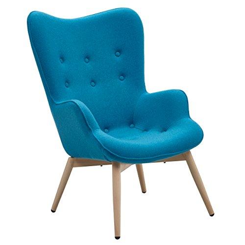 Designer Ohren-Sessel mit Armlehnen aus Webstoff in Blau | Anjo | Club-Sessel im Retro-Design | Gestell aus Holz in Natur | 68 x 41 x 92 cm