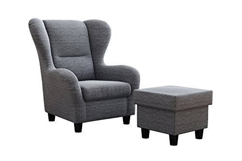 Furniture for Friends Ohrensessel Möbelfreude® Landhausstil mit Hocker Savana Hell-Grau Cocktail-Sessel Wohnzimmer-Sessel Relax-Sessel Grau Struktur-Stoff Luxus Wing-Chair Cocktail-Sessel (Grau)