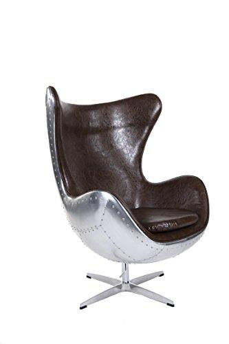 Sessel Stuhl Retro DIXON EGG Gepolstert Armlehnenstuhl Aluminium PVC Leder Design Vetrostyle braun