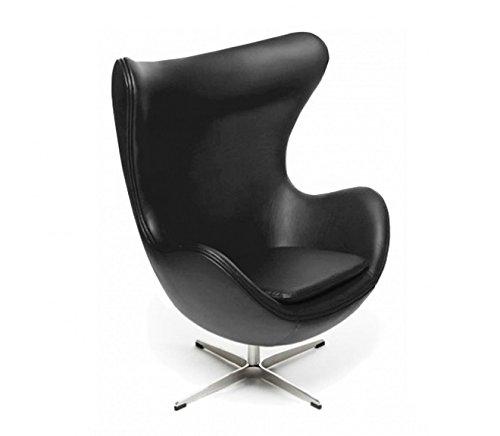 Sessel Stuhl Retro DIXON EGG Gepolstert Armlehnenstuhl PVC-Leder Design Vetrostyle schwarz