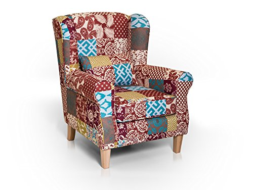 moebel-eins WILLY Ohrensessel Wing-Chair Sessel Polstersessel Wohnzimmersessel Relaxsessel/Patchwork Bunt