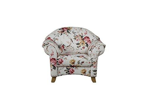 Cavadore Sessel Maifayr / Wunderschön geblümter Sessel im Landhausstil mit Holzfüßen / Landhaus Polstersessel / Maße: 109 x 90 x 90 cm (BxHxT) / Farbe: Beige mit Blumenmuster floral in rose