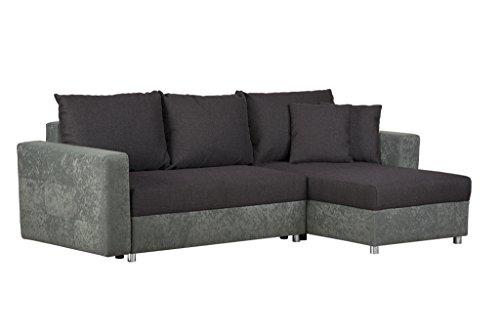 Couch mit Schlaffunktion und Bettkasten / Recamiere rechts oder links montierbar / Ecksofa in L-Form / Mit Strukturstoff in Aubergine / 233 x 146 x 69 cm (B x T x H)