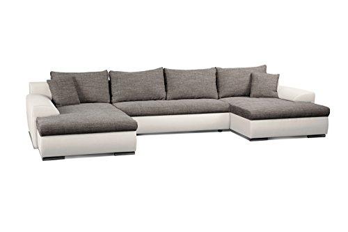 Cavadore Wohnlandschaft Leriot / U-Sofa mit Kunstleder / Longchair rechts oder links montierbar / Inkl. Zier- und Rückenkissen / 365 x 86 x 200 cm (BxHxT) / Weiß - Grau